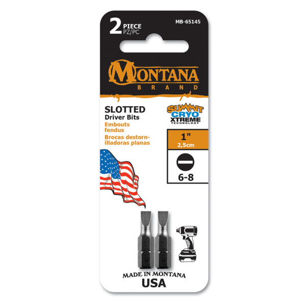 """MB, (2PC) 1"""" Slotted 6-8 Driver Bits"""
