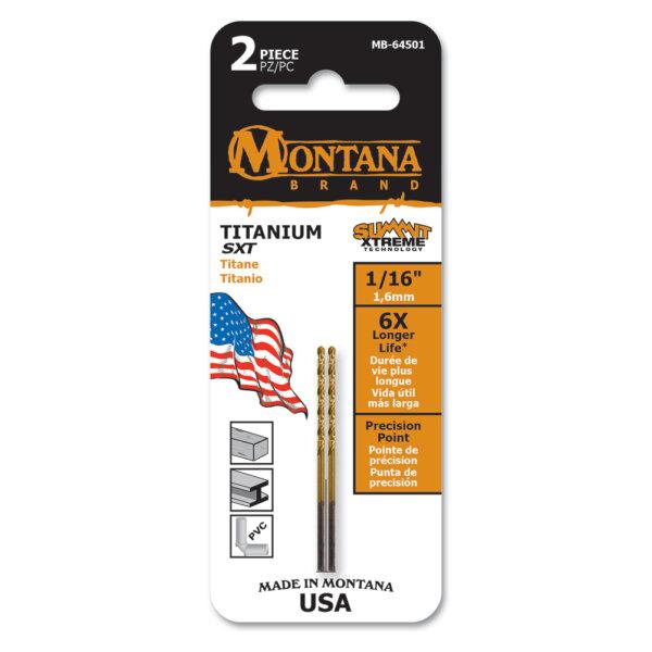 """Montana Brand, Titanium Round Shank Drill, 1/16"""" (2-pc)"""