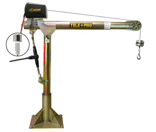 Tele-Pro 1,200 lb. Davit Crane w/ 12V DC Electric Winch