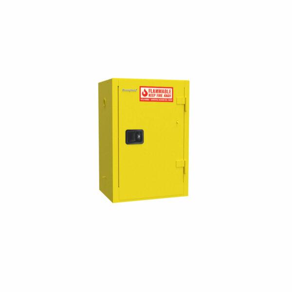 Heavy-Duty Flammable Safety Cabinet, 14-Gauge Steel, 12 Gallons, 2 Shelves, Manual-Closing Door