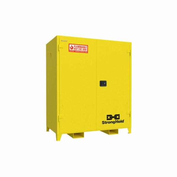 "Heavy-Duty Flammable Safety Cabinet, 14-Gauge Steel, 120 Gallons, 3 Shelves, Manual-Closing Door, 59""W x 34""D x 66""H"