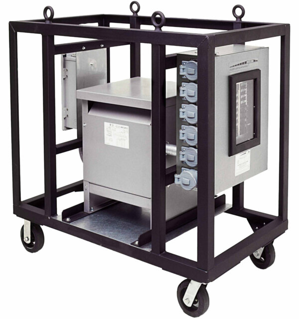 3-Phase Transformer Power Station, 2-Wheel Cart, with 6210DC Secondary Panel, 480V 3P4W to 120/208V 4P5W, 45kVA Transformer; 60A Primary Disconnect; 125A Secondary Main Breaker