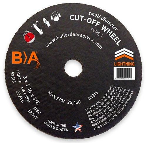 Small Diameter Cut-Off Wheels - SGA36T, 3 x 1/16 x 3/8, 36
