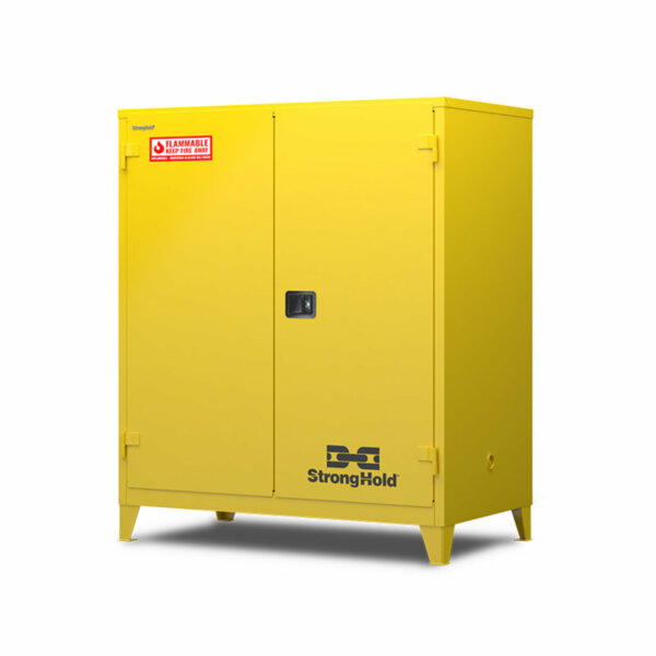 "Flammable Safety Cabinet, 18-Gauge Steel, 120 Gallons, 3 Shelves, Manual-Closing Door, 59""W x 34""D x 66""H"