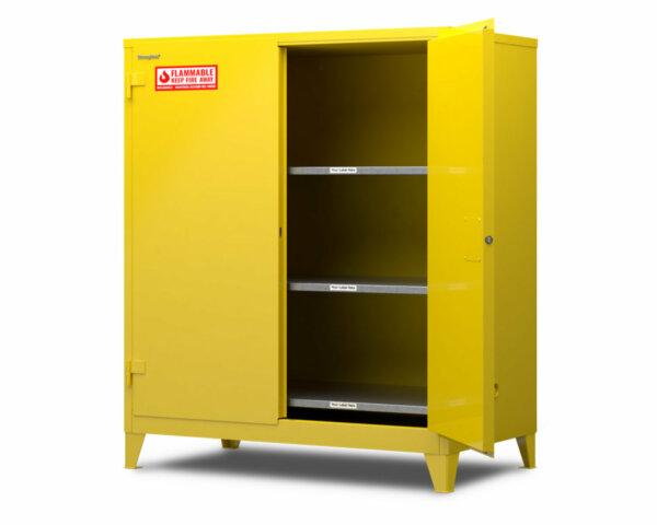 "Flammable Safety Cabinet, 18-Gauge Steel, 120 Gallons, 3 Shelves, Self-Closing Door, 59""W x 34""D x 66""H"