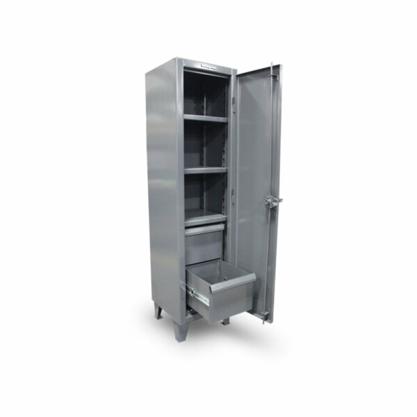 """Single-Tier Industrial Locker with Two Drawers, 18""""W x 18""""D x 66""""H"""