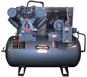 Saylor-Beall Horizontal Industrial Air Compressor, Electric Motor Driven, 30 HP, #9000 Splash Lubricated Pump